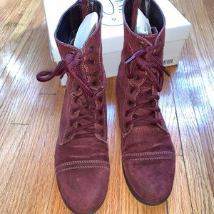 Steve Madden Troopa boots Burgundy Suede size 9